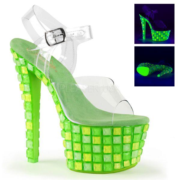 SKY-308UVTL neon grün     Durchsichtige Plateau Sandalette mit neon-grünem Plateau